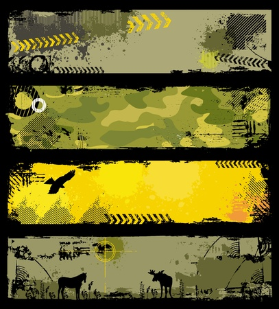 vogelspuren: Grunge milit�rischen Banner 2 Illustration