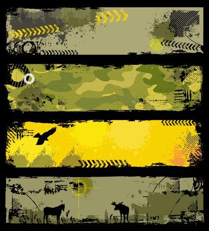 Pancartas militar grunge 2 Vectores