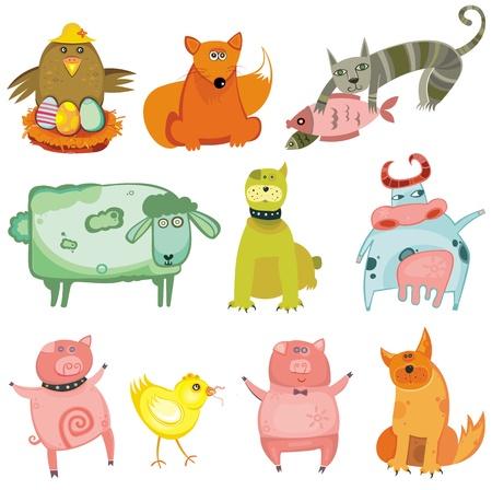 chinese pig: Conjunto de lindos animales-vector.