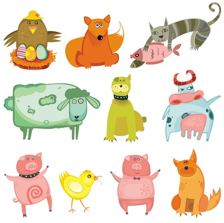 Cute animals- vector set.  Vector