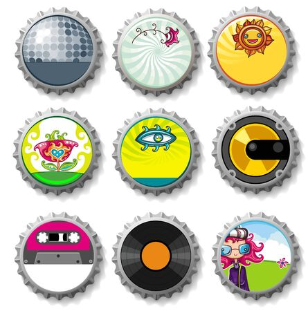 Colorful bottle caps 9 - vector set  Illustration