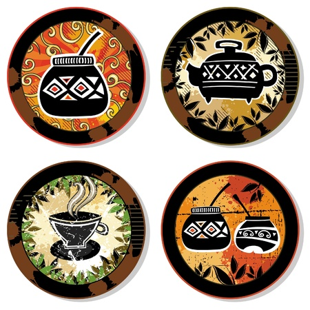 Grunge collection of drink coasters - coffee, tea, yerba mate theme