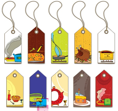 piece of luggage: Colorful food tags.