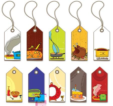 Etiquetas de alimentos colorido.