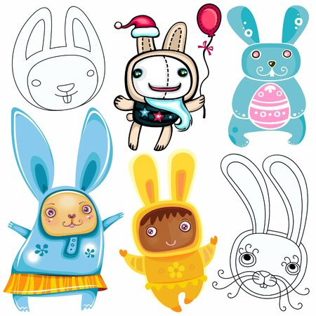 Vector set of different cute Rabbits Stock Vector - 9526928