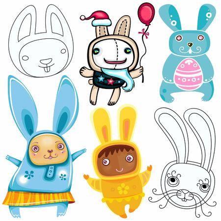 Vector set of different cute Rabbits Vector