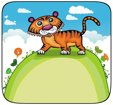 Funny Tiger on green hill.  Vector