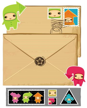 Funny envelope and stamps.  Vector