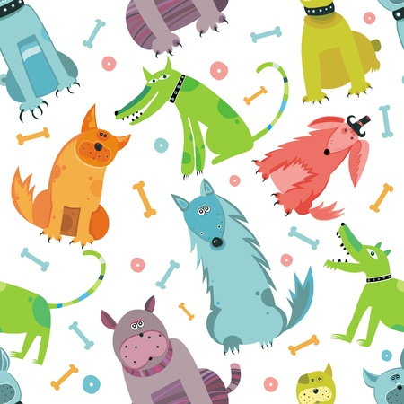 dog walking: Seamless Funny vector dogs.
