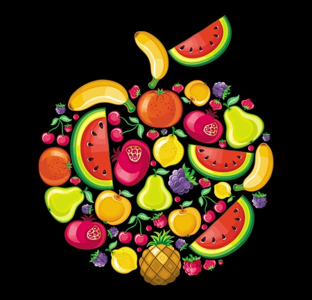 Different types of delicious fruits combined in a shape of an apple.
