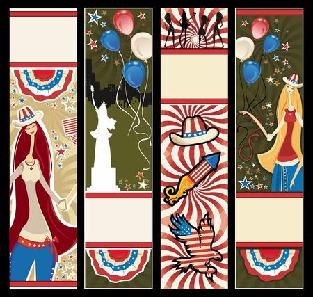 American patriotic vertical banners.  Vector
