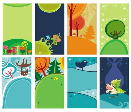Spring Summer cards.  Vector