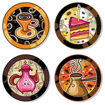 Grunge collection of drink coasters - coffee, tea, yerba mate theme Vector