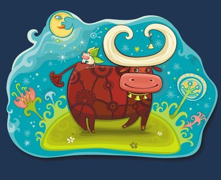 Fairy cows at Magic field Stock Vector - 9627233