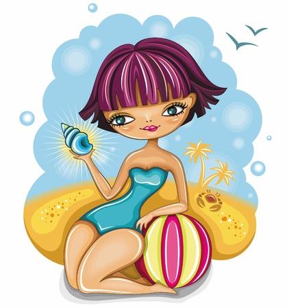 beach ball girl: cute girl at the beach