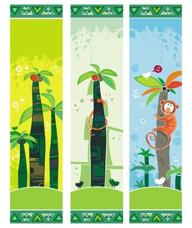 Pancartas de la selva africana con palmeras, monos, serpientes, aves. Con espacio para el texto.