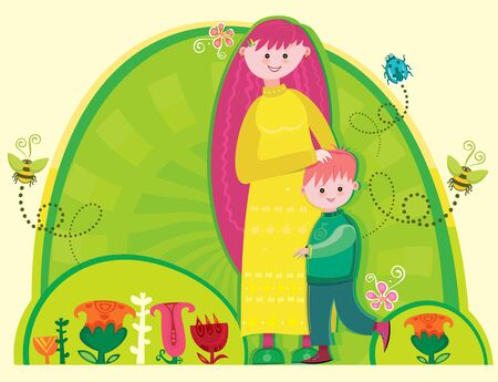Happy mothers day! A young mother with a cute son in the park.  Vector