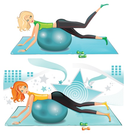 Sexy woman exercising with a pilates ball. Illustration
