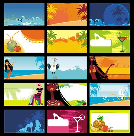 wave tourist: Vector vacation business cards set.
