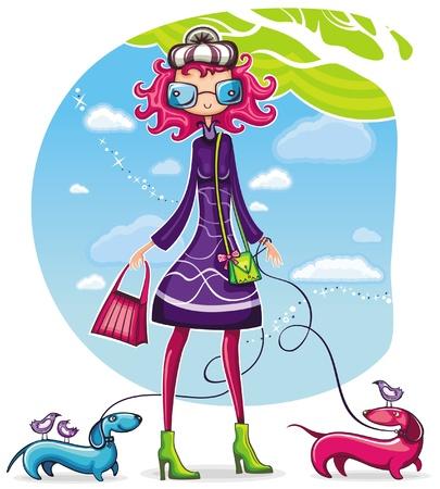 mujer con perro: Primavera compras serie girl 6