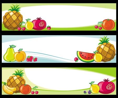 exotic fruit: Fruit banners.  Illustration