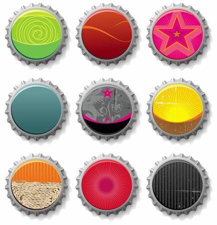 web cap: bottle caps 2 - vector set.