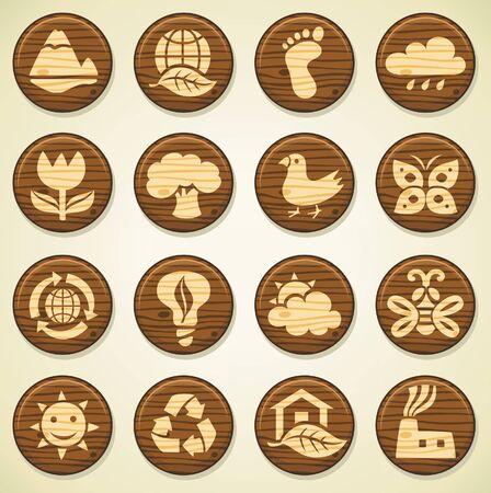 ECO. Conjunto de iconos de medio ambiente de la madera  Vectores