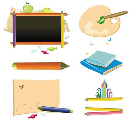 kinder: Volver a la escuela - icon set Vectores