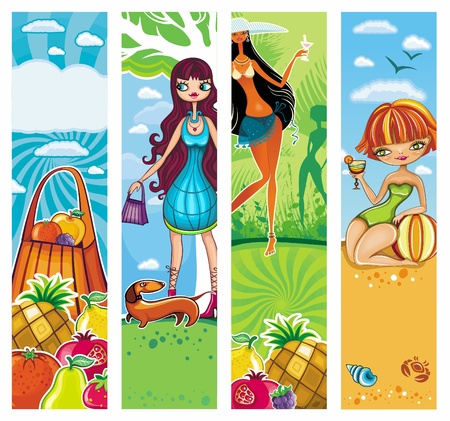 exotic fruit: vacation banners set 5.