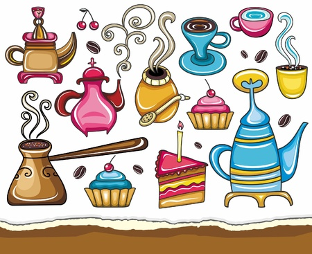Funny coffee, mate, tea, set  Illustration