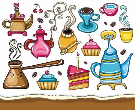 turkish dessert: Funny coffee, mate, tea, set  Illustration