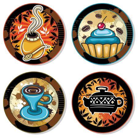 Grunge collection of drink coasters - coffee, tea, yerba mate theme