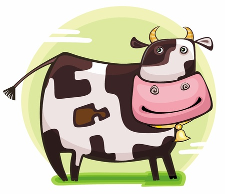 cow bells: Cute friendly cow. Illustration