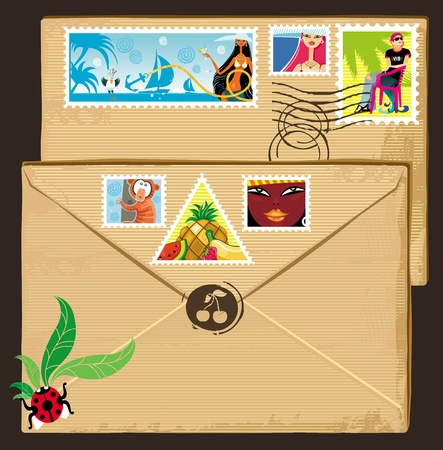 Vacation tags set on brown vintage envelope Vector