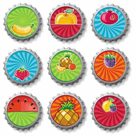 fruity bottle caps 3 Stock Vector - 9717814