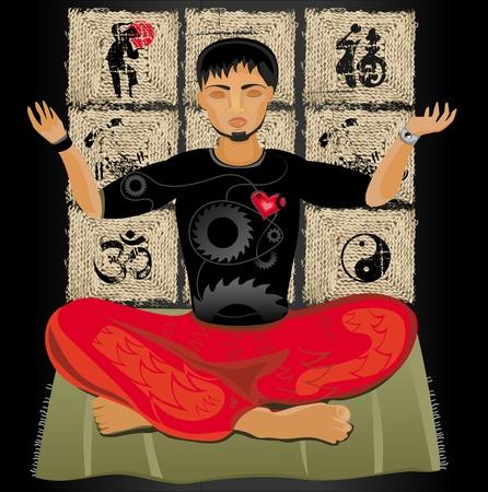 asian business man: Young man doing yoga. Meditation. Illustration
