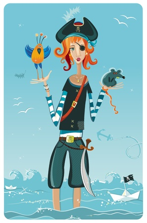 Pirate girl. Stock Vector - 9717810