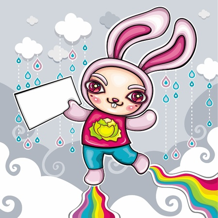 cute bunny character. Flying in the sky with his super rainbow power.  Vector