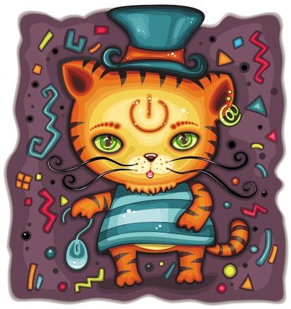 Cute little tirgess or kitten Vector