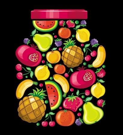 jam jar: Fruit cane. Illustration