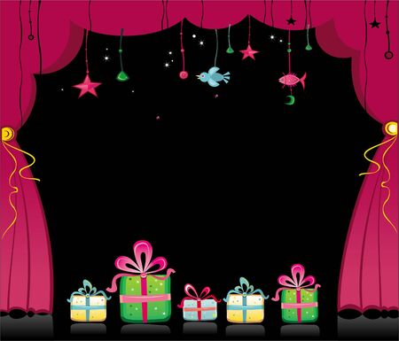 magical theater curtains and presents Vector