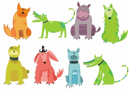dog walking: Colorful dogs set