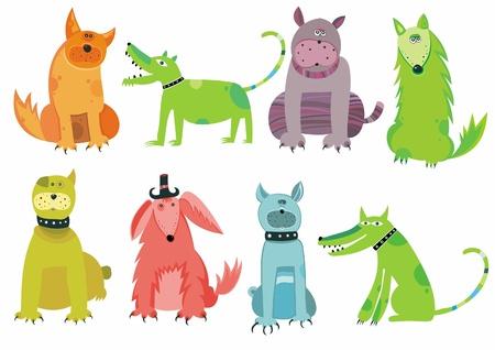 perro boxer: Perros colorido conjunto  Vectores