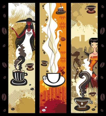 woman drinking coffee: Coffee girls banners.