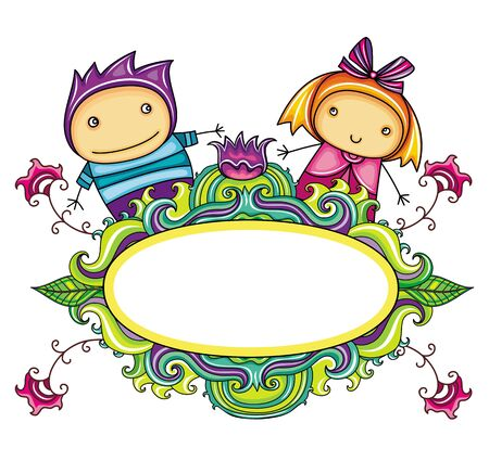 man and banner: Floral curly frame with cute boy and girl (floral series)  Illustration