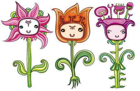 flowers cartoon: flowers set