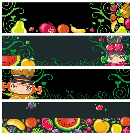 raspberries: Colorful fruit banners.  Illustration