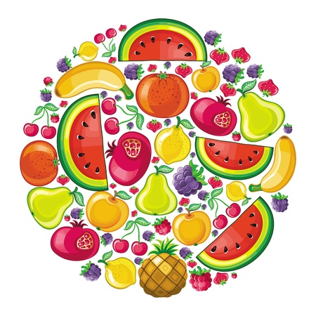 are combined: Different types of delicious fruits combined in juicy planet  Illustration