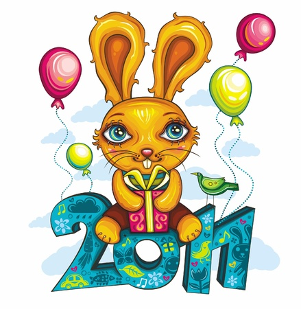 greeting card: Cartoon Bunny, holding colorful gift box, sitting at decorative 2011 letters. Cheerfully flying in the sky. Rabbit is the symbol of New Year, according to the Chinese calendar  Vector