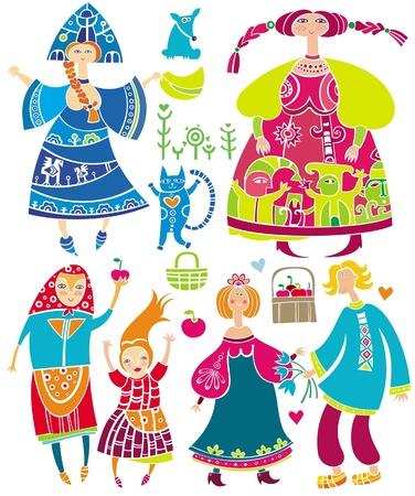 Conjunto decorativo de personajes de dibujos animados eslava: mujeres hermosas, joven en vestido étnico, el novio y la novia, cesta de manzanas, cat.